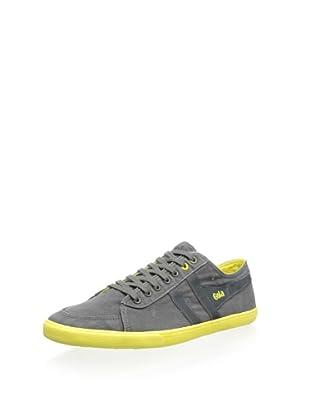 Gola Men's Quota Contrast Sneaker (Anthracite/Neon Yellow)