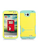 Aimo Wireless Hybrid Protective Cover with Stand for LG Optimus L70 /Optimus Exceed 2 - Retail Packaging - Yellow/Lime