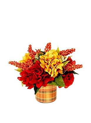 Creative Displays Gold & Rust Hydrangea Floral in Plaid Vase, Gold/Rust