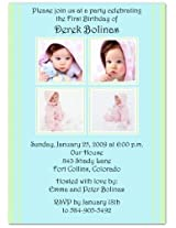 2 + 2 On Blue & Mint 1st Birthday Invitations Set Of 20