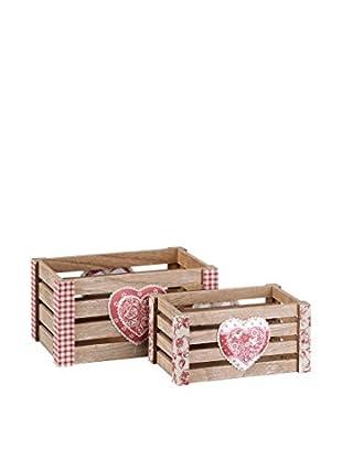 Romantic Style Set Caja de Almacenamiento 2 Uds. Heart Rojo / Blanco