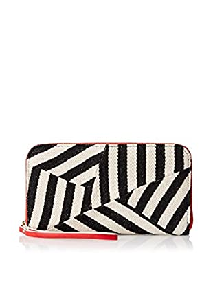 POVERTY FLATS by rian Women's Stripey Wristlet Zip Around Wallet, Black/Red