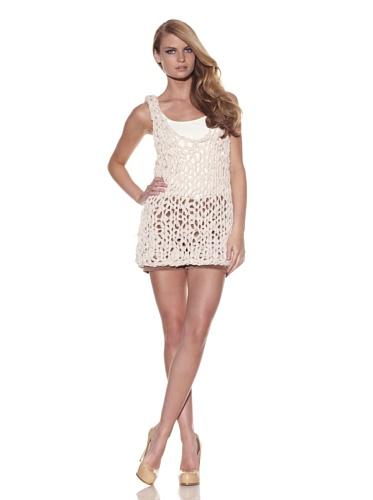 Foley + Corinna Women's Norma Crochet Chiffon Lace Up Tank (Nude)