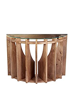 Artistic Lighting Wooden Sundial Console Table, Natural Mango