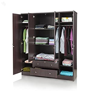 Wardrobe Four-Door with Dark Finish & Mirror