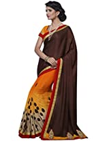 Indian Women Satin and Chiffon Brown And Orange Saree