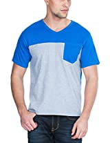 Zovi Cotton Blue And Grey V-neck Casual T-shirt (S143RNM00801_X-Large)