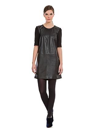 Cortefiel Vestido Combinado (Negro)