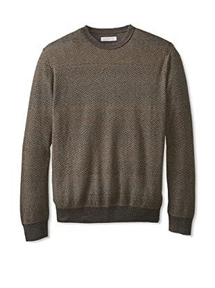 Alex Cannon Men's Long Sleeve Crew Neck Herringbone Ombre Sweater (Cafe)