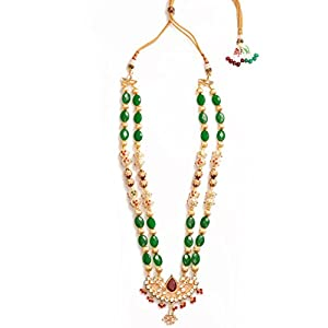 Daamak Jewellery Green Beads Kundan Necklace