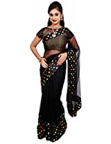 Diva Women's Net Saree (Black )