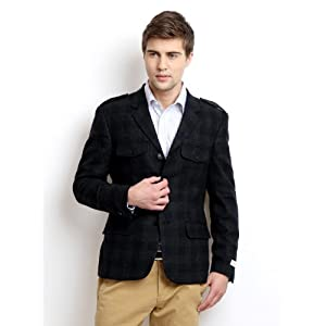 Peter England Men Navy & Grey Checked Wool Blend Italian Fit Blazer