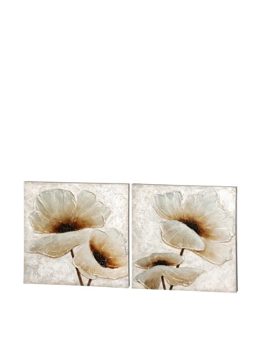 Mercana Décor Set of 2 Whimsy in White Wall Art Panels, White/Natural