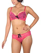 Sugar Lips Satin Lingerie Set (AQ21, Pink, 36B)