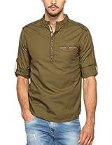 Spykar Men Cotton Olive Casual Shirt (Medium)