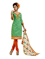Fabdeal Women Chanderi Cotton Embroidered Salwar Kameez