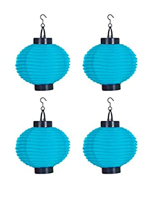 Pure Garden Set of 4 LED Outdoor Solar Chinese Lanterns, Blue