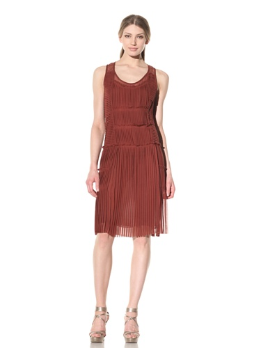 Vera Wang Women's Pleated Chiffon Tank Dress (Cardamom)