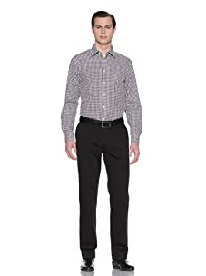 Report Collection Men's Checkered Jacquard Button-Front Shirt (Tobacco)