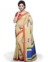 Utsav Fashion Women's Beige Art Silk Jamdani Saree with Blouse