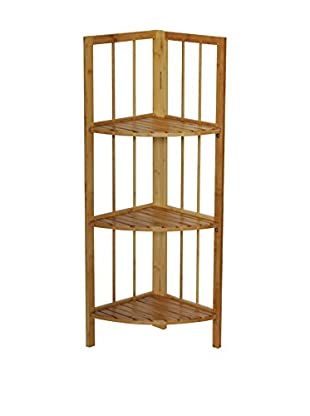 Gallerie Décor Bamboo Natural Spa 3-Shelf Corner Tower, Natural