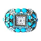Blue Rhinestone with Flower Fashion Bangle Watch