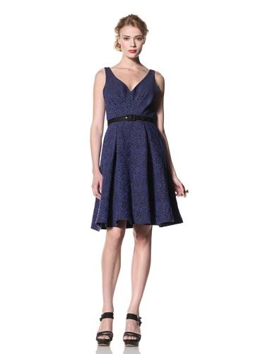 Eva Franco Women's Abigail V-Neck Fit & Flare Dress (Moonlight Bark)