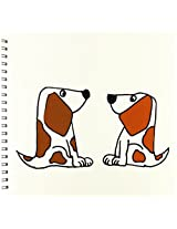 3dRose db_201810_2 Cute & Fun Basset Hound Puppy Dogs Cartoon Memory Book, 12 by 12""