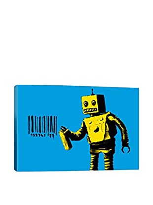 Banksy Coney Island Barcode Robot Blue Gallery Wrapped Canvas Print