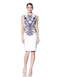 Naeem Khan Women's Embroidered Sheath Dress (White/Ink Blue)