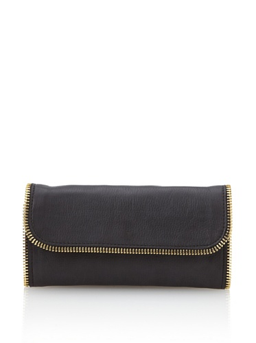 Linea Pelle Women's Dylan All-Around Zip Wallet (Black)