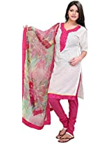 Winter-White and Pink Choodidaar Kameez Suit with Thread Embroidered Patch on Neck and Printed Dupatta
