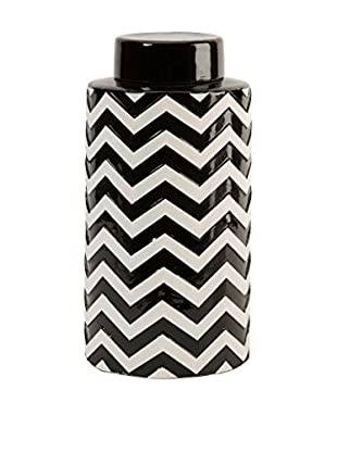 Chevron Canister with Lid, Black/White
