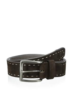 Bolliver Men's Border Stitch Belt (Chocolate/Grey)