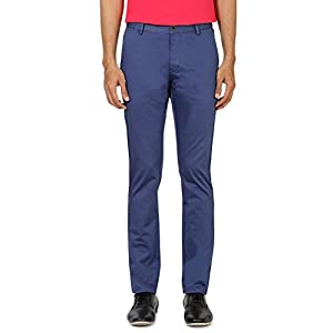 Flat Front Textured Casual Trouser