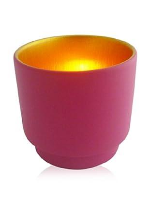 Luminata Studios Ceramic Votive Holder, Pink/Gold