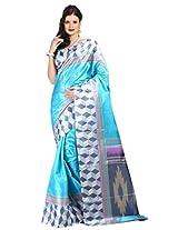 Parchayee Blue Art Silk Printed Saree FS