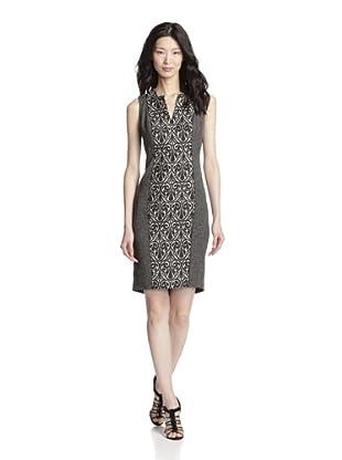 Rachel Roy Women's Mouline Crepe Mix Media Dress (Black/Natural White)