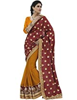 Indian Women Magnificent Jacquard Red Saree with Blouse