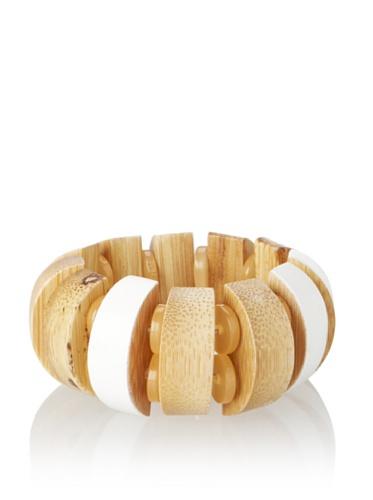 MARNI Women's Diamond White Wooden Bead Stretch Bracelet