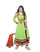 Adah Georgette, Shatoon Dress Material (Green) - 577-38011