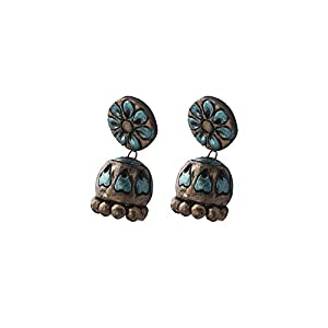 Artistri Metallic Light Blue & Antique Gold Floral Motif Jhumkas