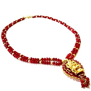 Daamak Jewellery Red Beads Ganesha Pendant Necklace