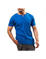 Unisopent Designs Men's Button Front Half Sleeve T-Shirt (Blue_Small)
