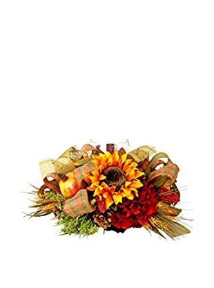 Creative Displays Harvest Candle Centerpiece with Rust Sunflower, Pomegranates, Wheat, Astilbe, & Burlap Ribbon, Green/Yellow/Red