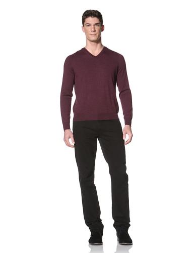 Cullen Men's V-Neck Sweater (Port Wine)