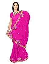 Chinco Embroidered Saree With Blouse Piece (201-B_Pink)