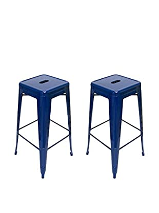 Aeon Euro Home Collection Set of 2 Galaxy Bar Stools, Navy Blue
