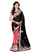 Sourbh Saree Black and Peach Satin Chiffon Half Half Best Sarees for Women Party Wear,Karwa Chauth Gifts for Wife, Women Clothing Collection