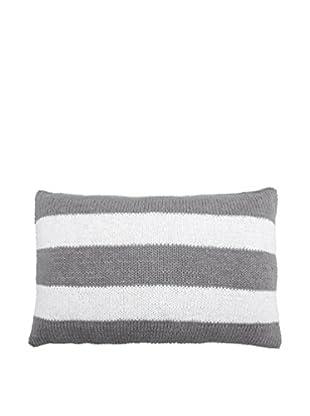 Lene Bjerre Afia White & Cement-Grey Striped Lumbar Pillow